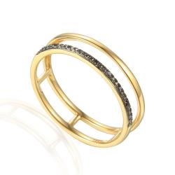 Pierścionek złoty z czarnymi diamentami