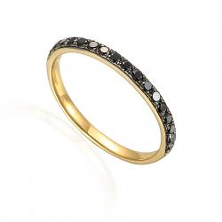 Złoty pierścionek obrączka z czarnymi diamentami