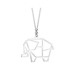 Srebrny naszyjnik słonik origami